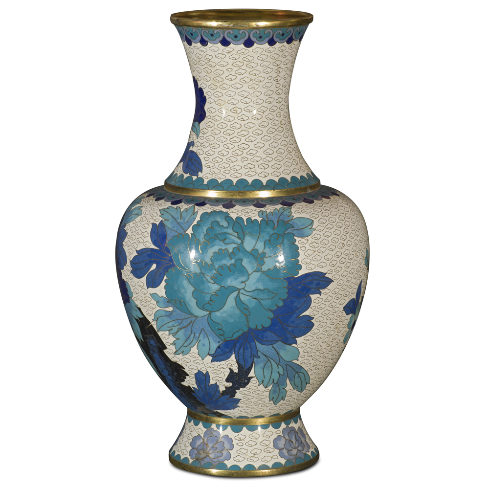 Blue and White Peony Motif Cloisonne Vase