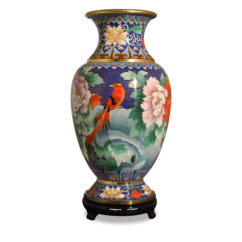 Blue Peony and Birds Cloisonne Vase