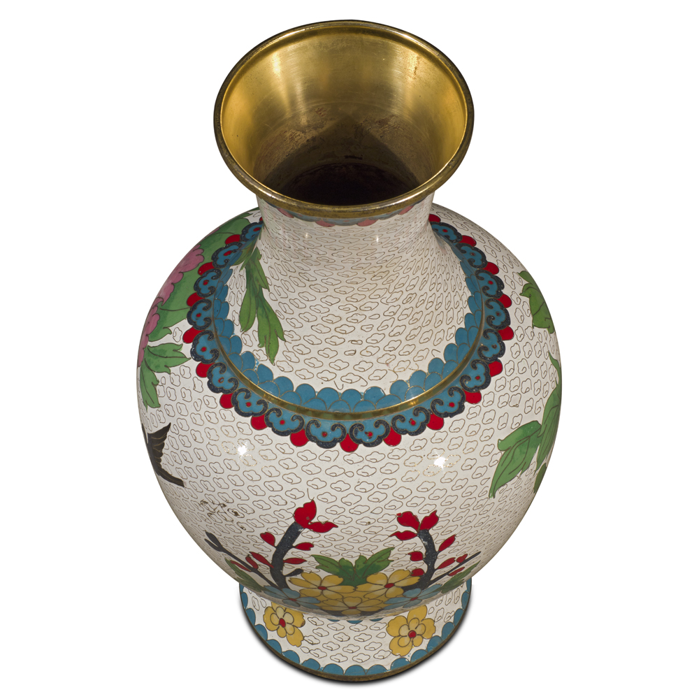 White Peony Motif Oriental Cloisonne Vase