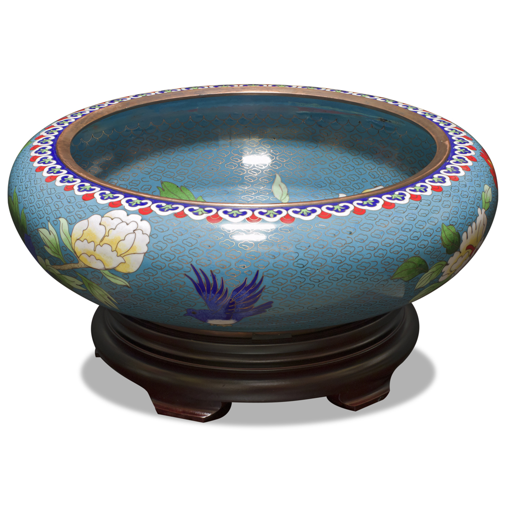 Blue Bird and Flower Cloisonne Bowl with Stand