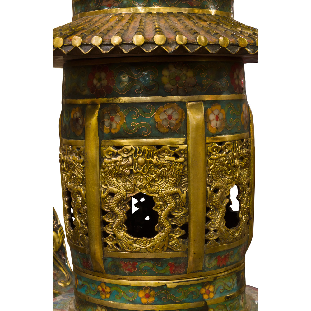 Vintage Chinese Temple Cloisonne Incense Burner