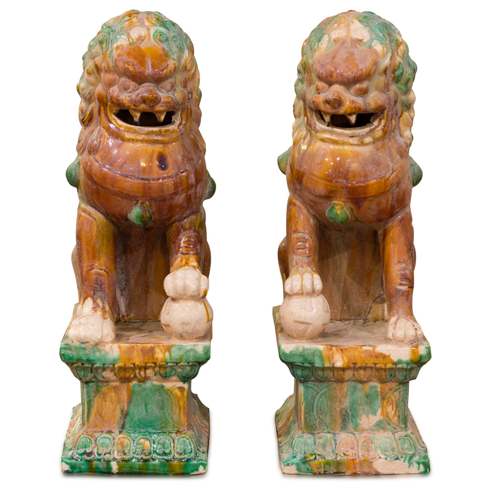 Porcelain Tang Tri-Color Foo Dogs