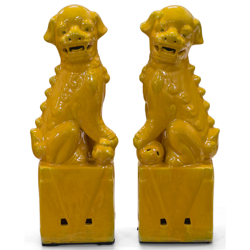 Yellow Porcelain Chinese Foo Dog Set