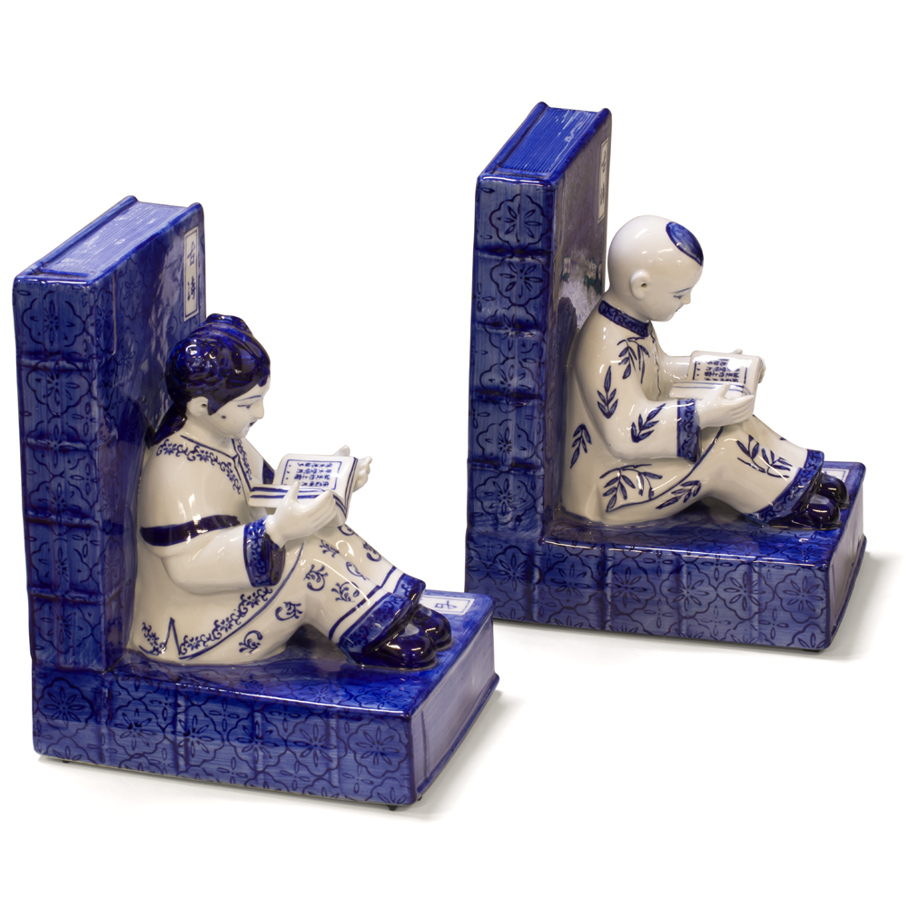 Blue and White Porcelain Reading Boy and Girl Asian Bookends