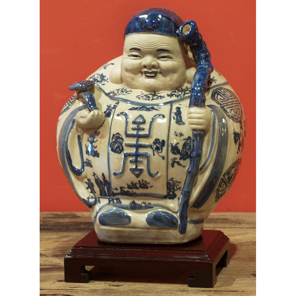 Blue and White Porcelain Gods of Longevity Oriental Figurines Set