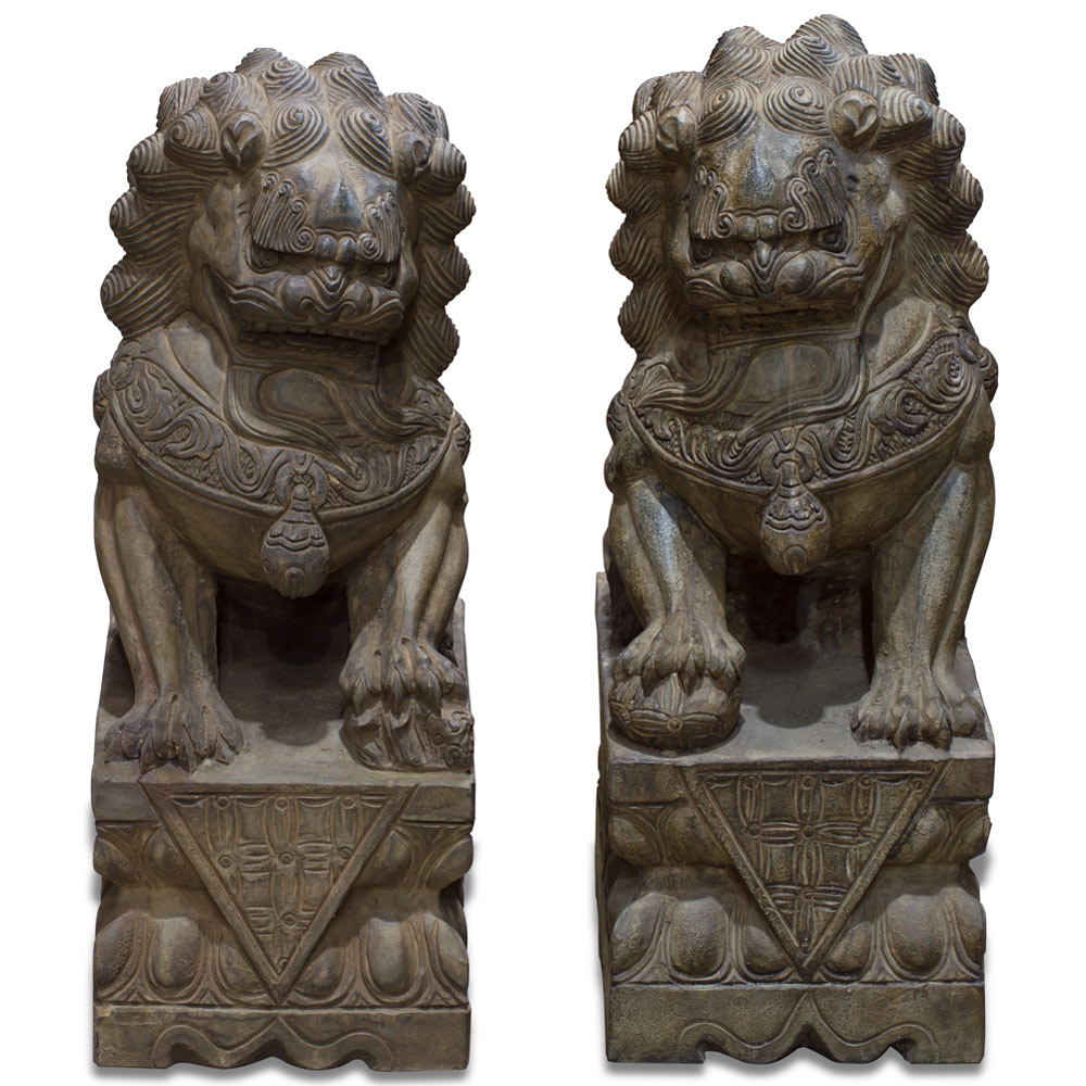Hand Carved Stone Foo Dogs