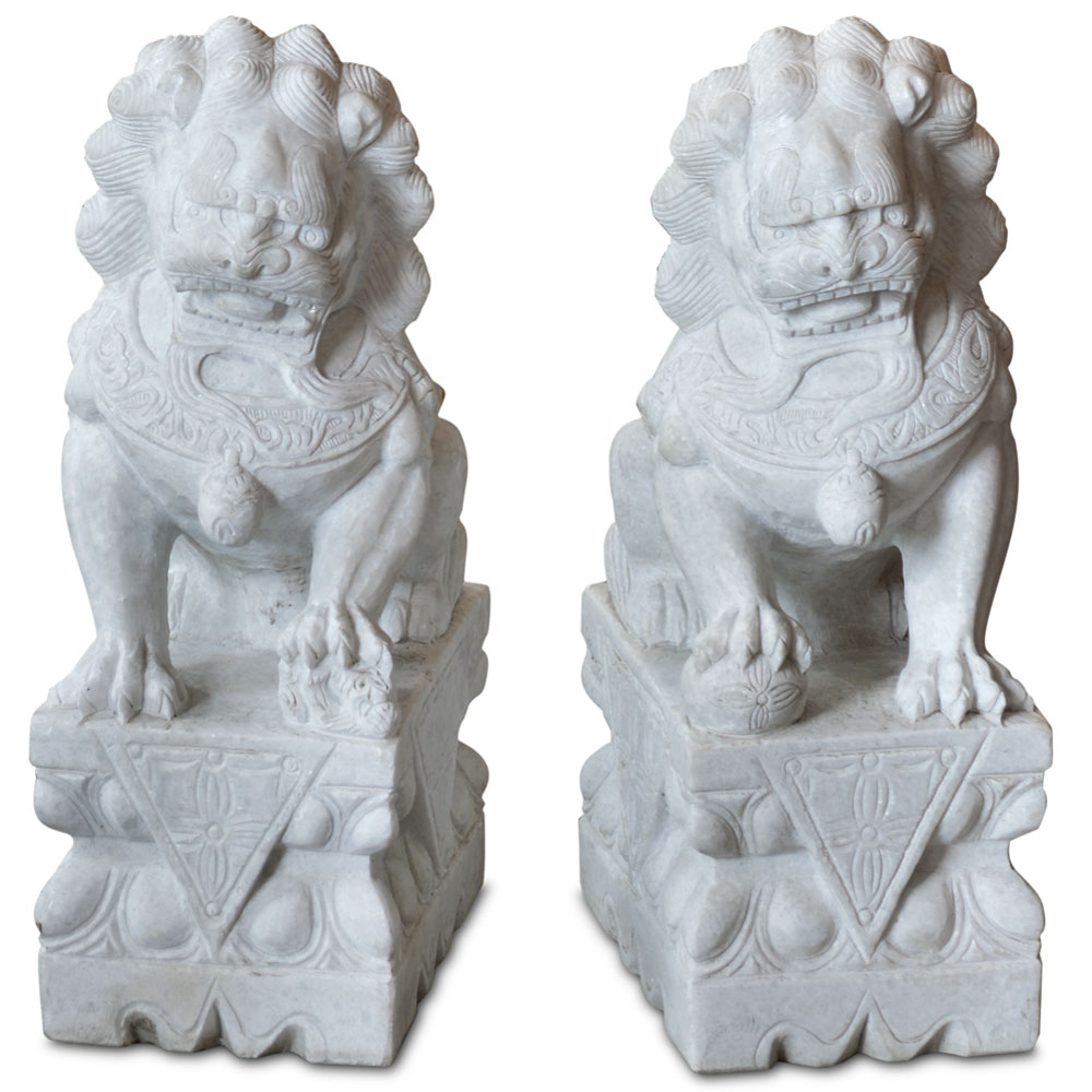 Hand Carved 24in Marble Foo Dogs