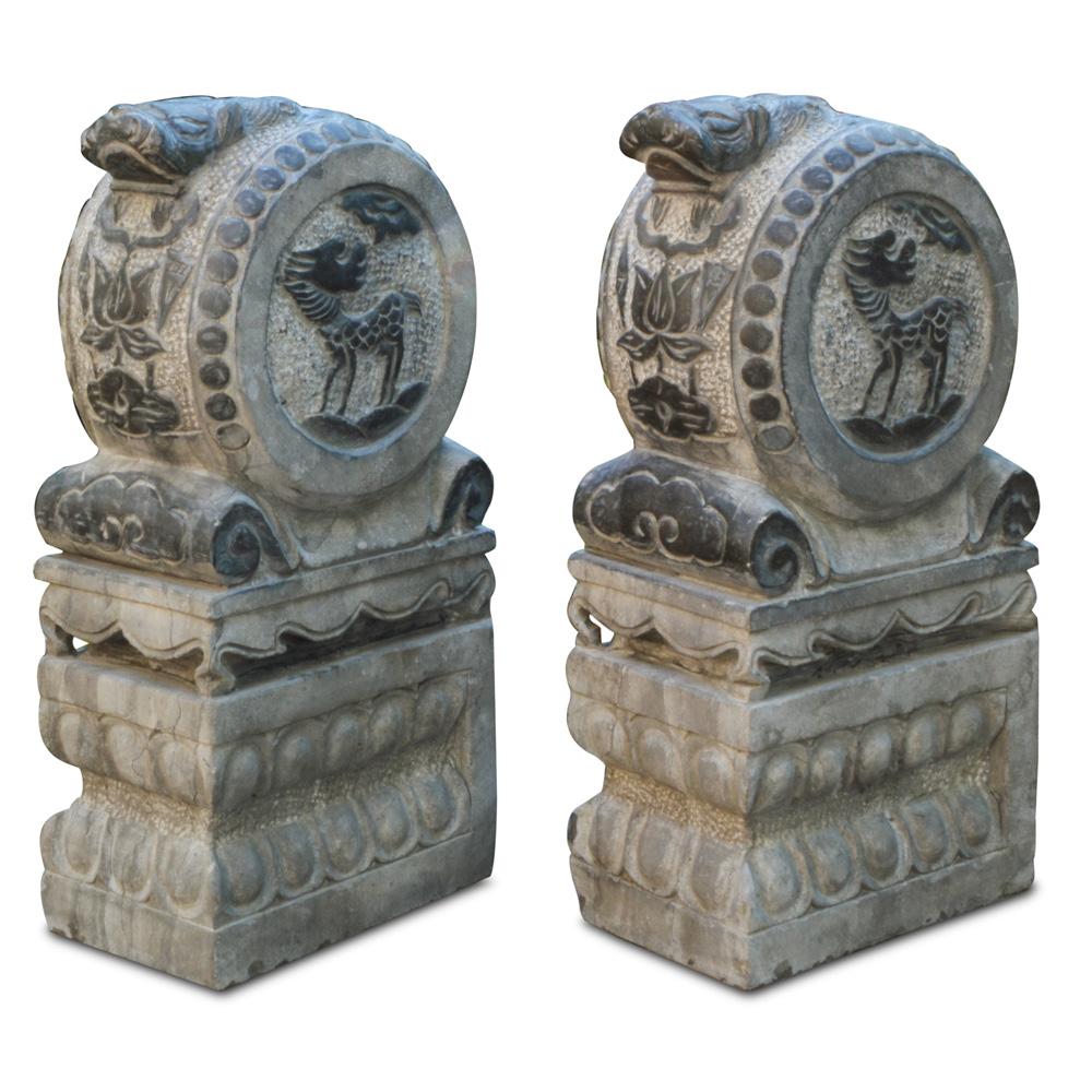 Stone Kirin Drum Entry Statue Set