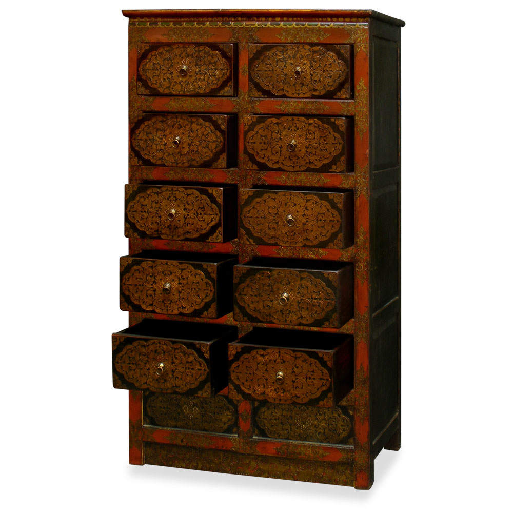 Hand-Painted Tibetan Chest of Drawers