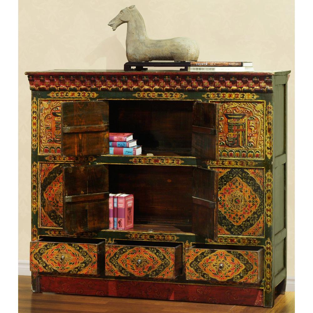 Hand-Painted Tibetan Cabinet