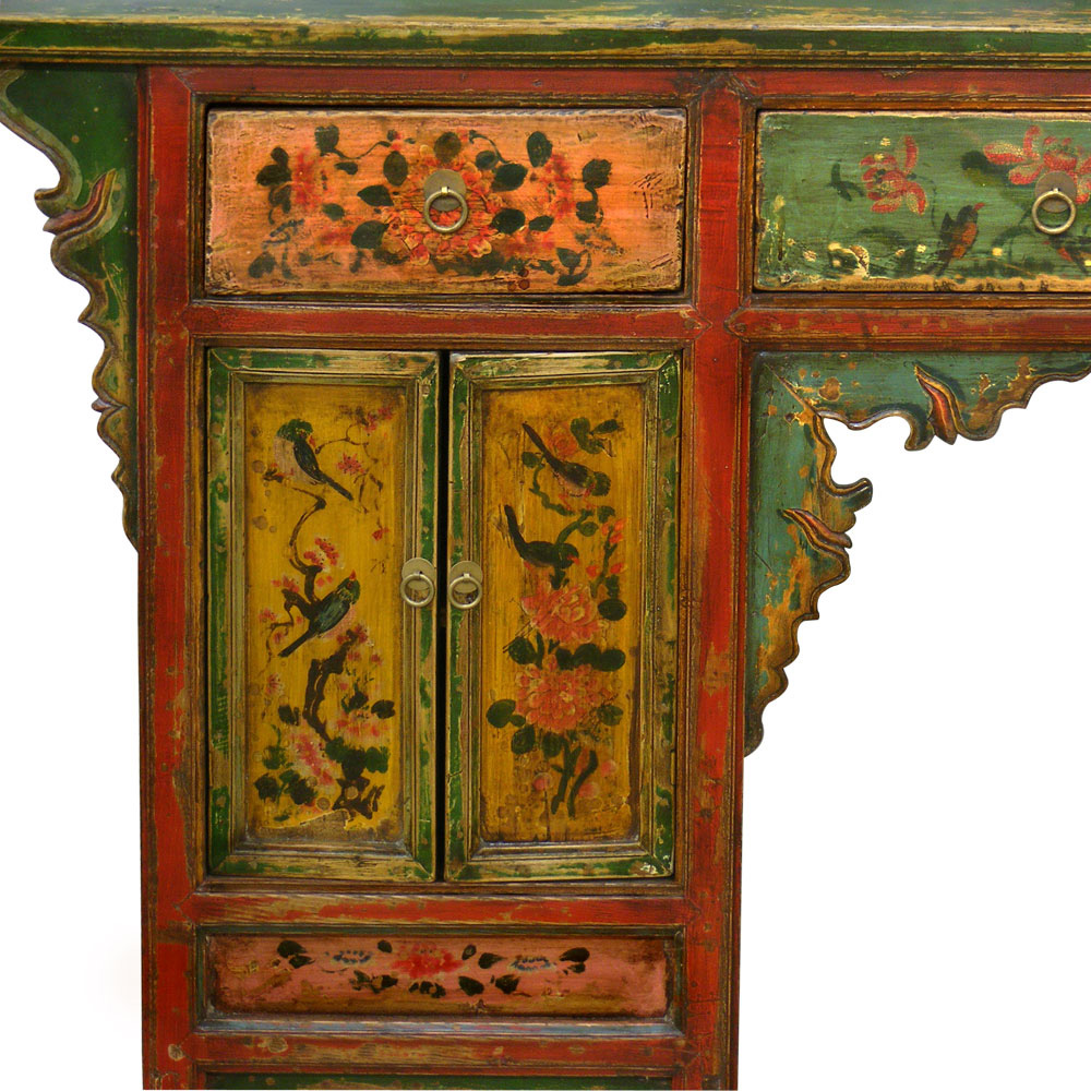 Hand Painted Mongolian Console Table