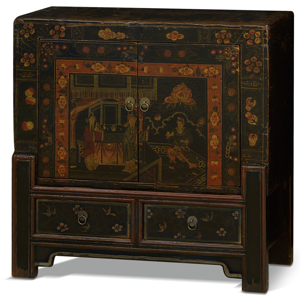 Hand-Painted Vintage Qing Cabinet