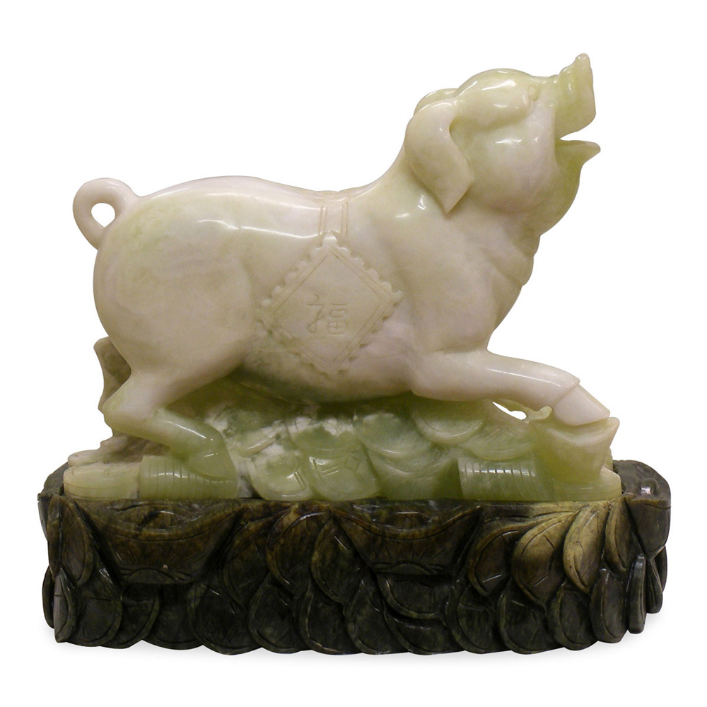 Hand Carved Jade Chinese Zodiac Boar