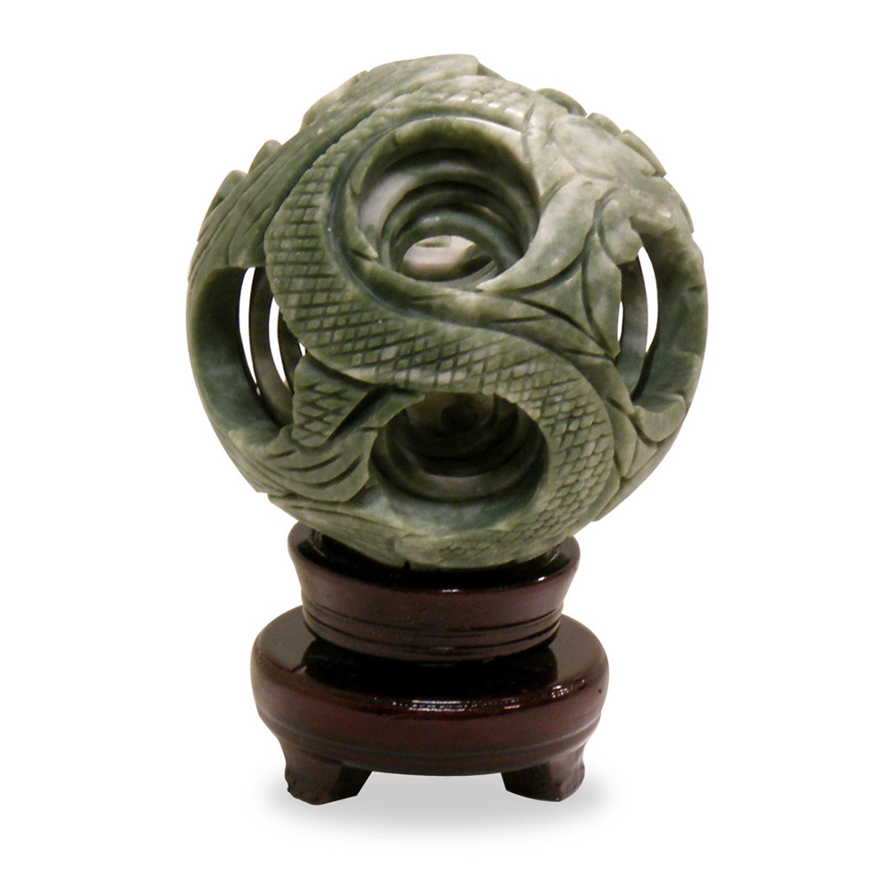 Hand Carved Jade Layered Ball On Stand