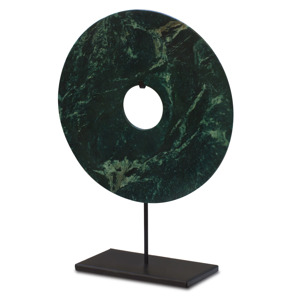 Chinese Green Jade Coin with Iron Stand