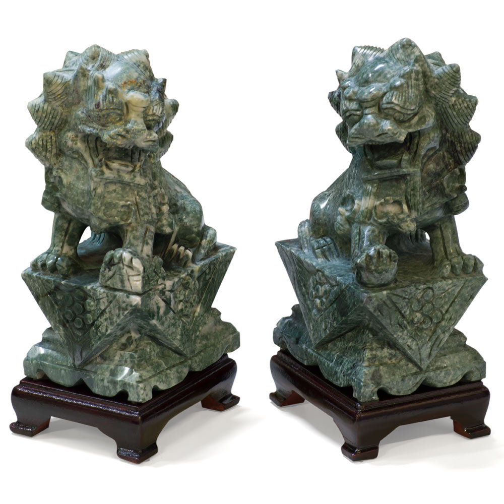 Hand Carved Jade Foo Dogs