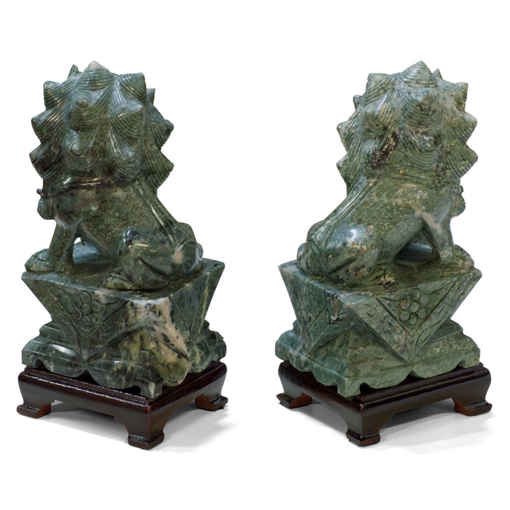Chinese Jade Foo Dog Set
