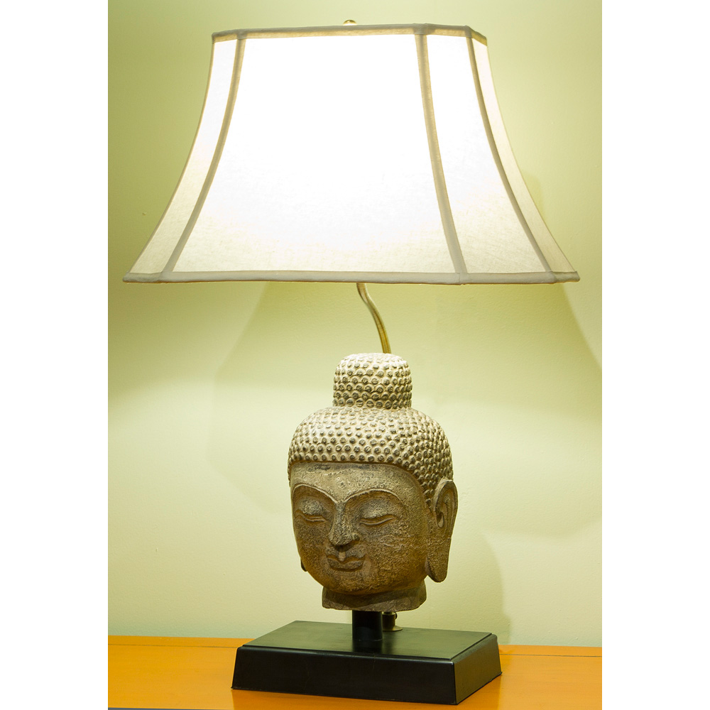 Stone Buddha Head Asian Table Lamp Display