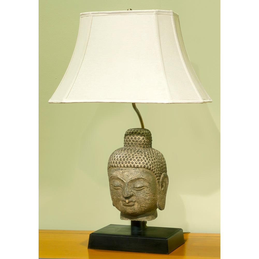 12 Inch Metal Home Decor Oriental Pearl Figurine Iron: Stone Buddha Head Table Lamp With Shade
