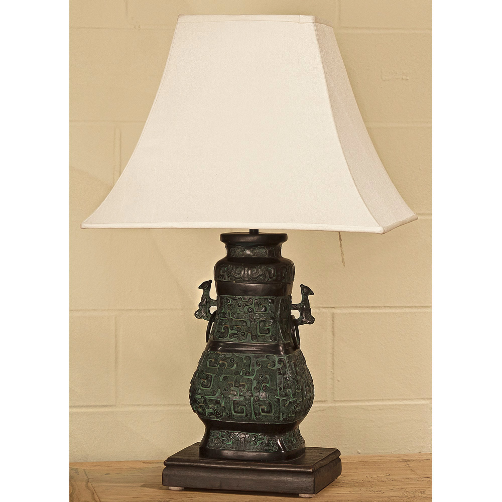 Bronze Vessel Table Lamp with Shade