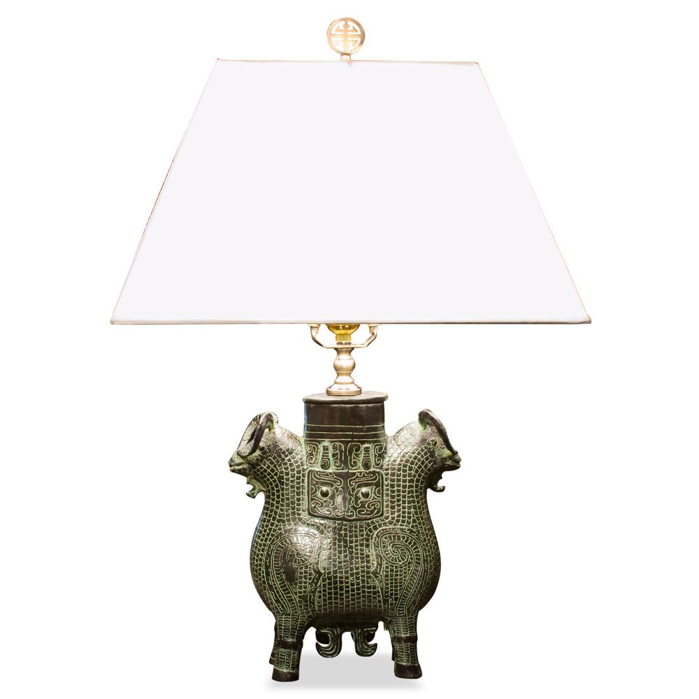 Antique Replica Bronze Vessel Asian Table Lamp