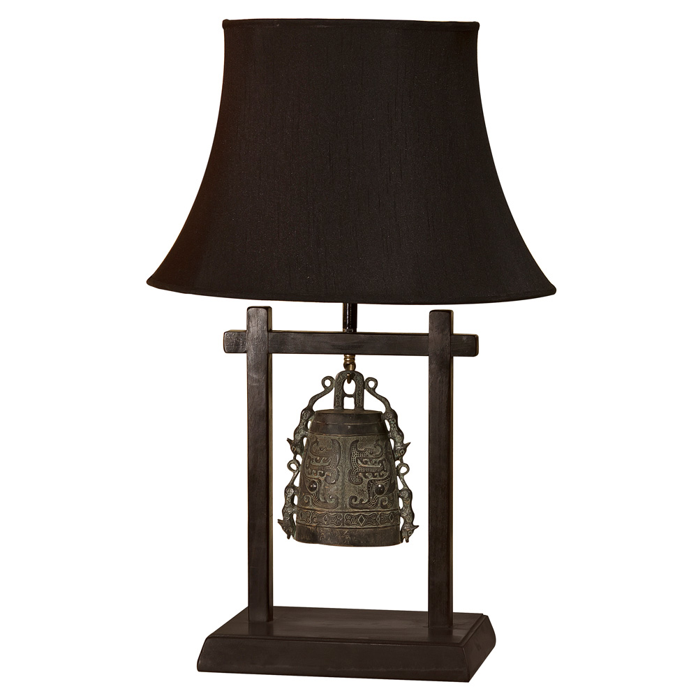 Bronze Bell Table Lamp with Shade
