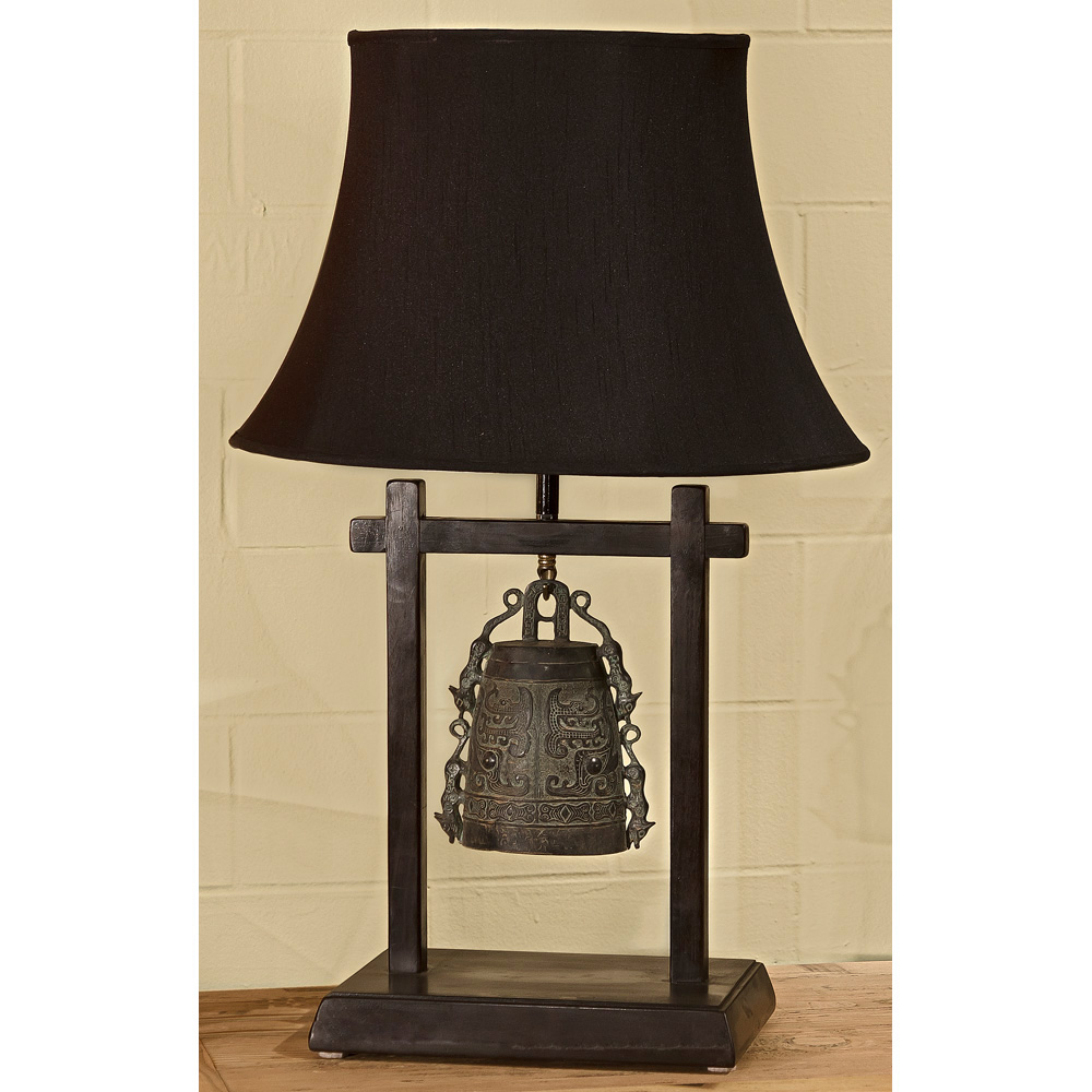 Bronze Bell Asian Table Lamp Display