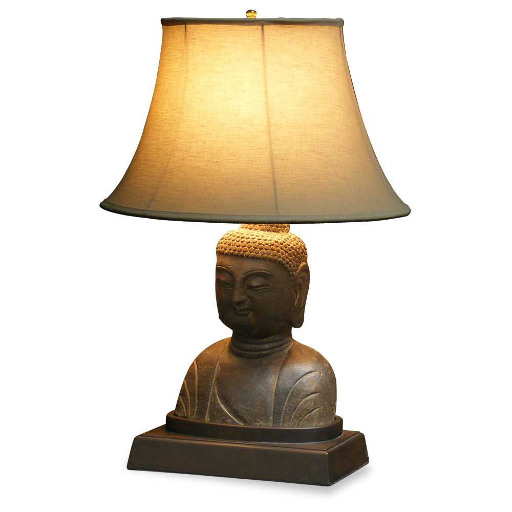 Stone Buddha Head Table Lamp With Shade