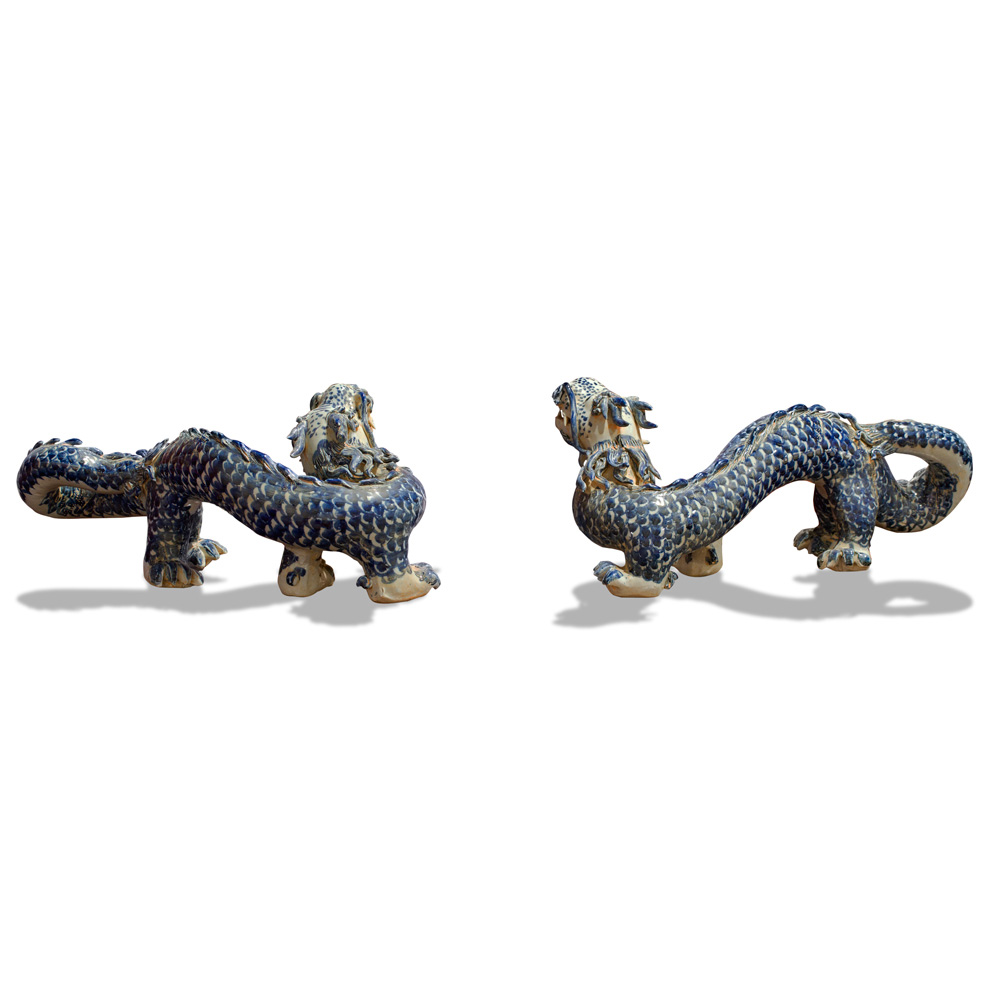Blue and White Porcelain Double Dragons