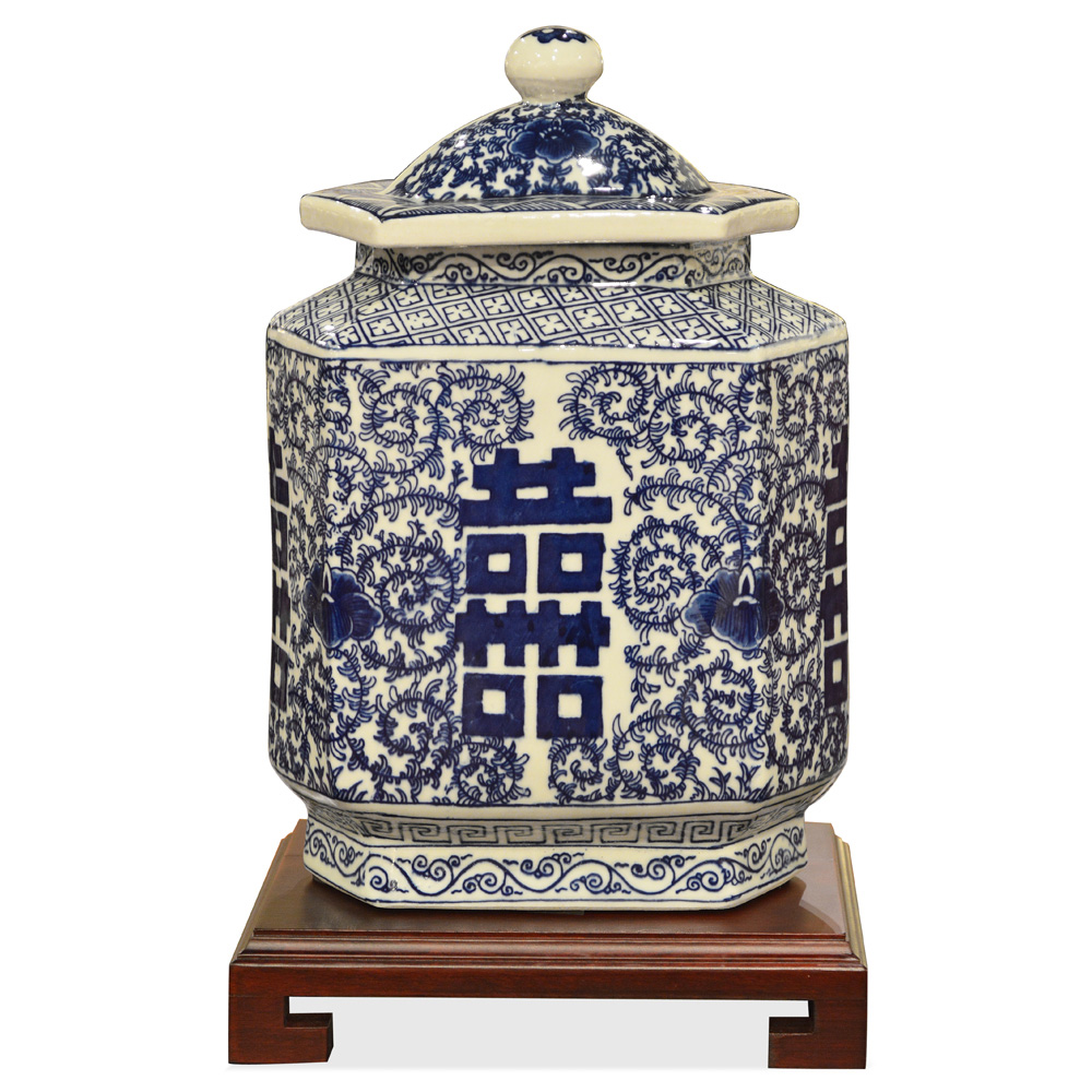 Blue & White Porcelain Tea Jar Double Happiness Motif