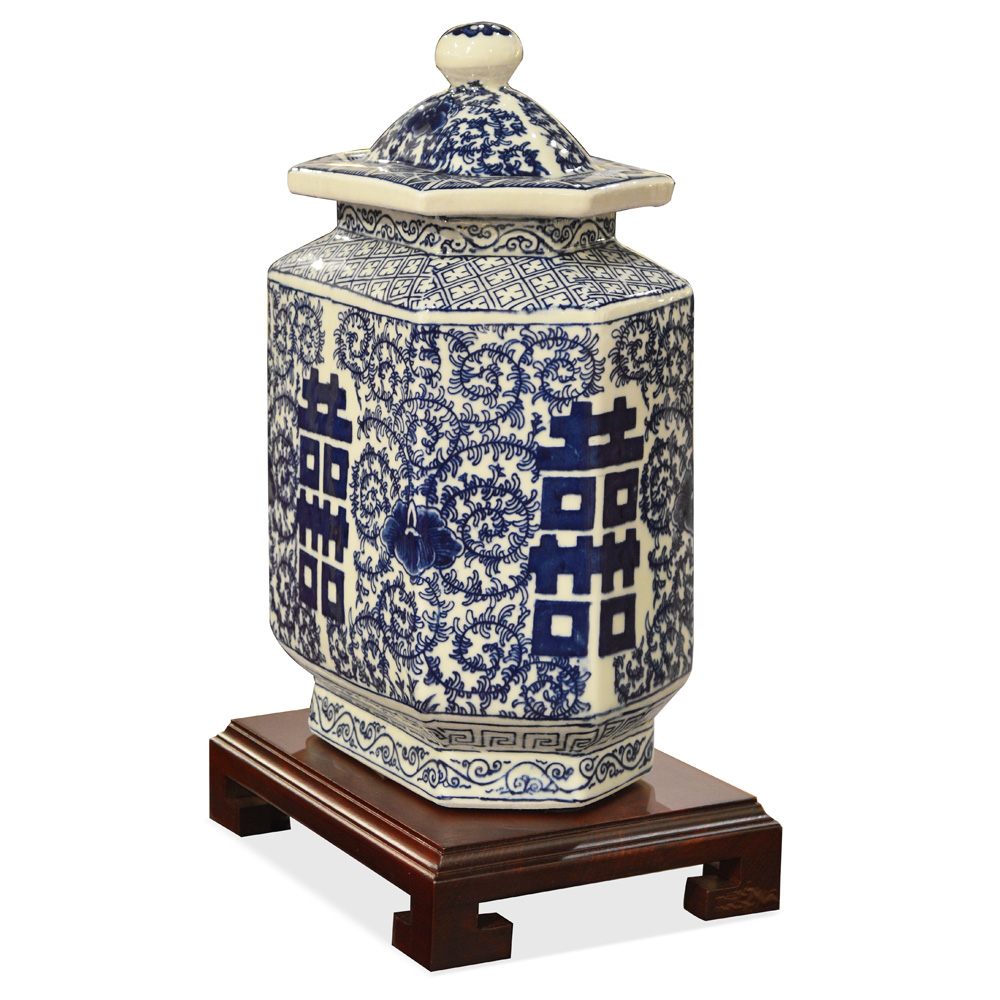 Blue and White Double Happiness Porcelain Chinese Tea Jar