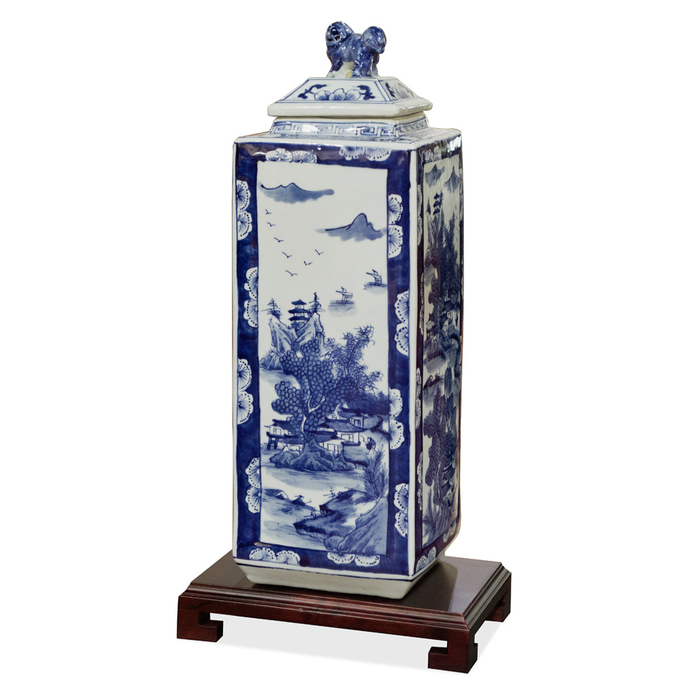 Blue and White Scenery Porcelain Chinese Tea Jar