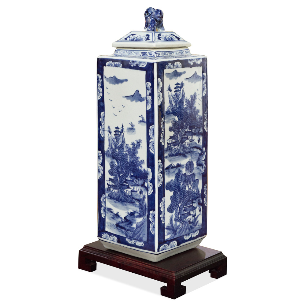 Blue and White Porcelain Tea Jar Scenery Motif