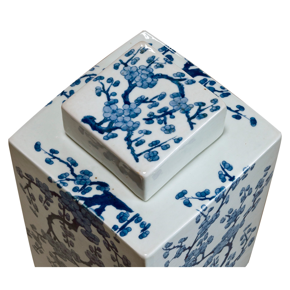 Blue and White Cherry Blossom Porcelain Chinese Tea Jar