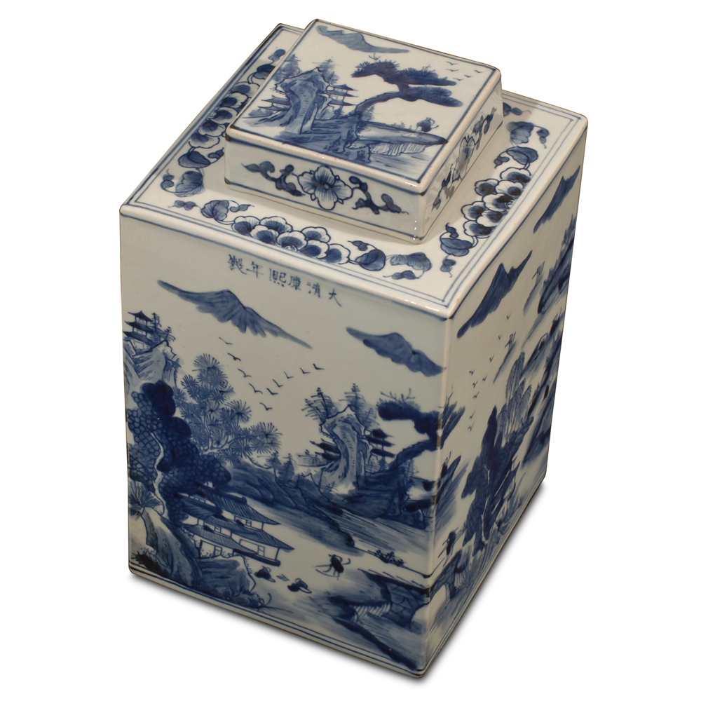 Blue and White Porcelain Scenery Chinese Tea Jar
