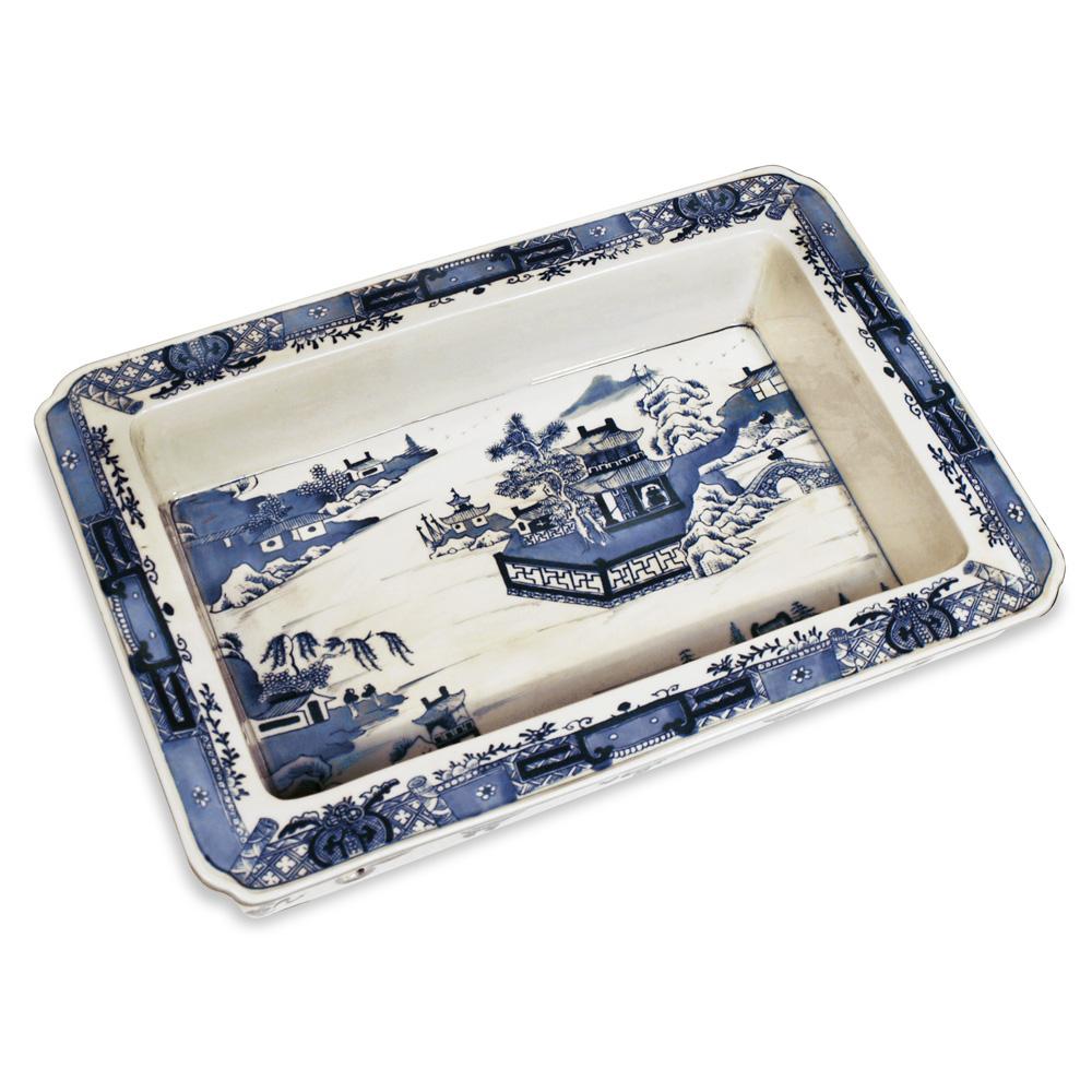 Porcelain Blue amp White Tray