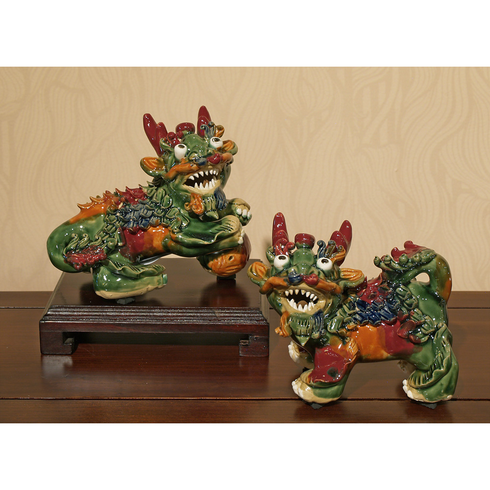 Multicolor Porcelain Kirin Oriental Figurine Set