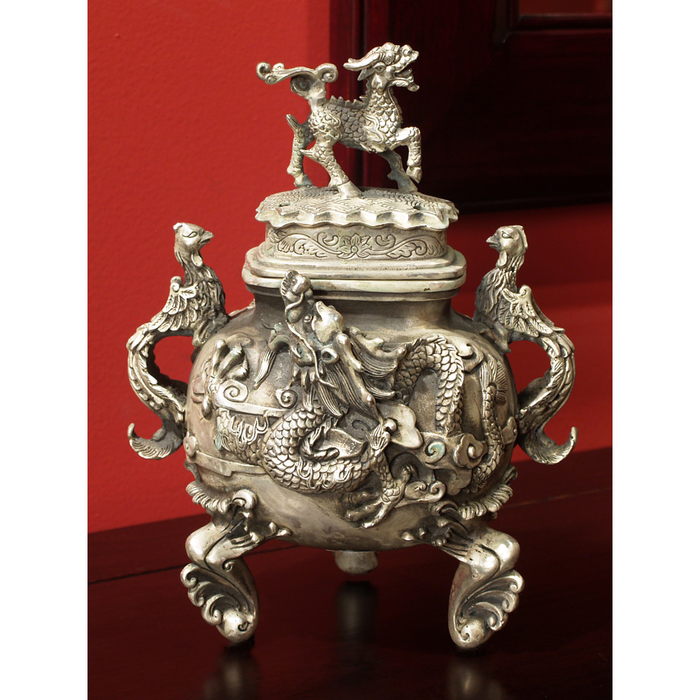 Silver Plated Incense Burner with Chinese Legendary Creatures