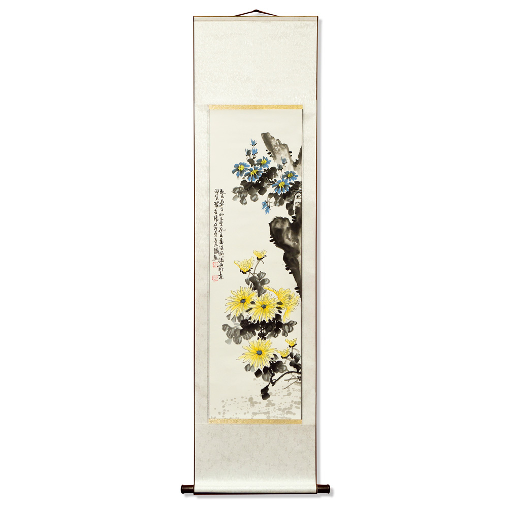 Four Season Mei-Lan-Ju-Zhu Chinese Water Painting Scroll Set with Flowers