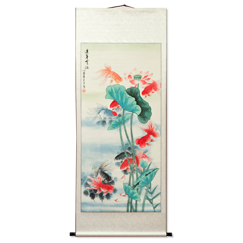 Chinese Lotus Pond Water Painting Scroll with Thriving Gold Fish