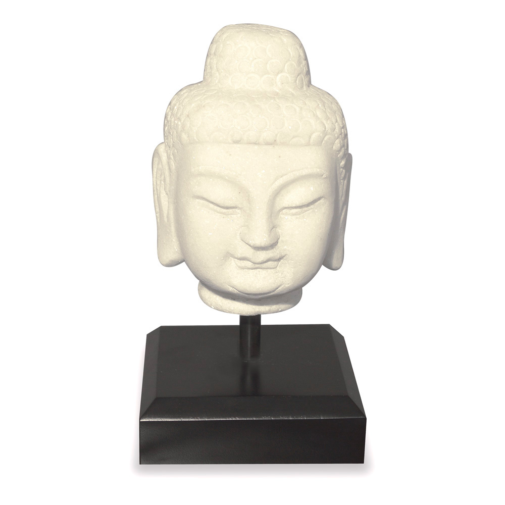 Small White Marble Enlightened Buddha Head Asian Sculpture