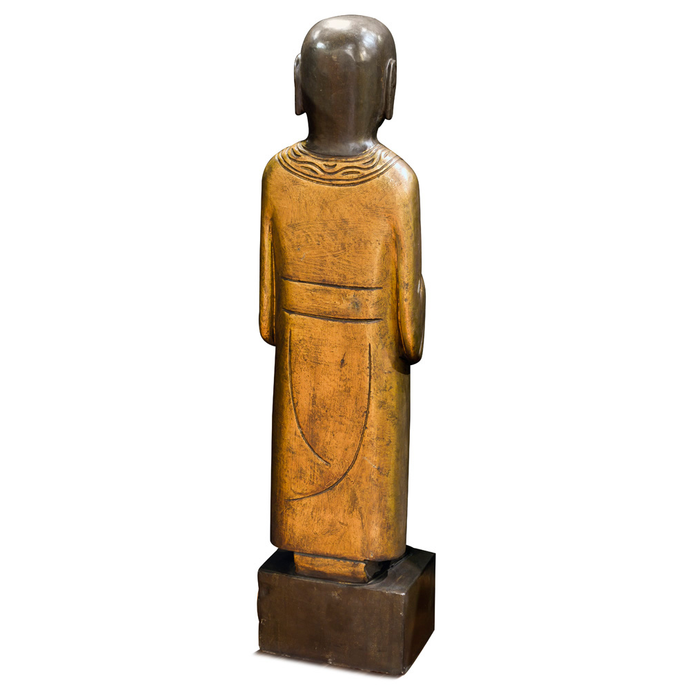 Gilded Stone Greeting Monk Statue