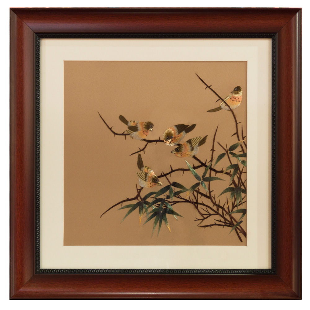 Chinese Silk Embroidery of Social Finches