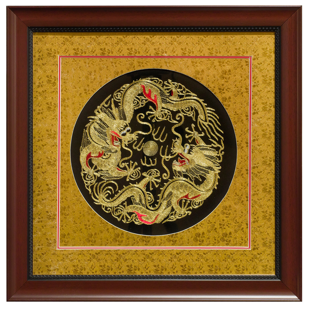 Silk Embroidery of Double Imperial Dragons