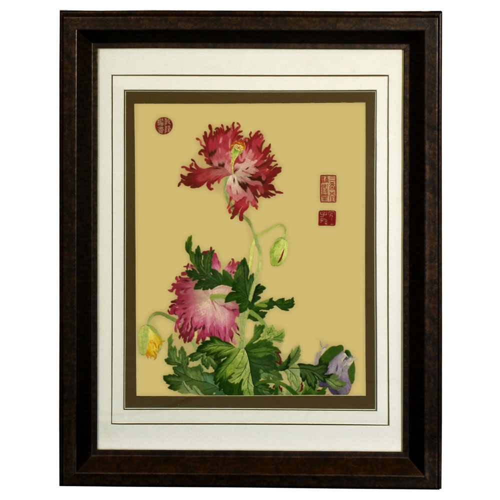 Floral scene silk embroidery frame