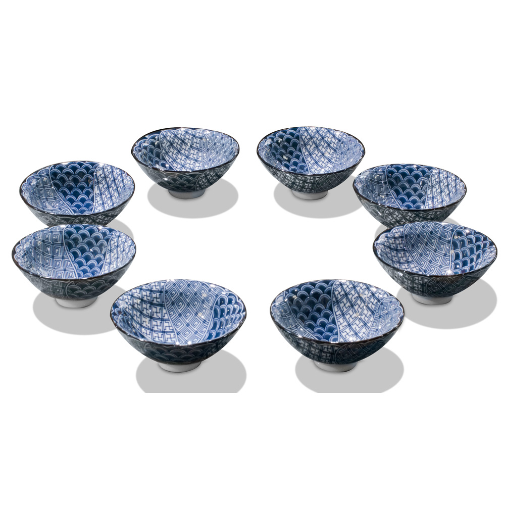 Blue & White Porcelain Tea Cups (8pcs set)