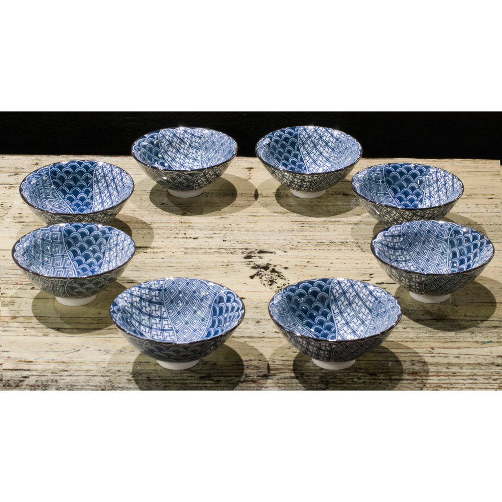 Blue and White Porcelain Patterned Tea Cup Set