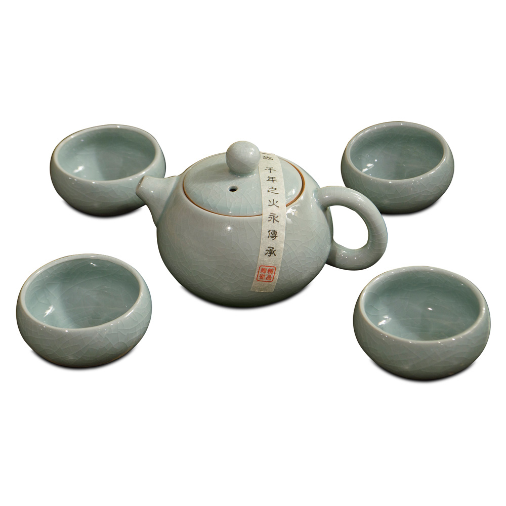 Powder Blue Crackle Porcelain Tea Set