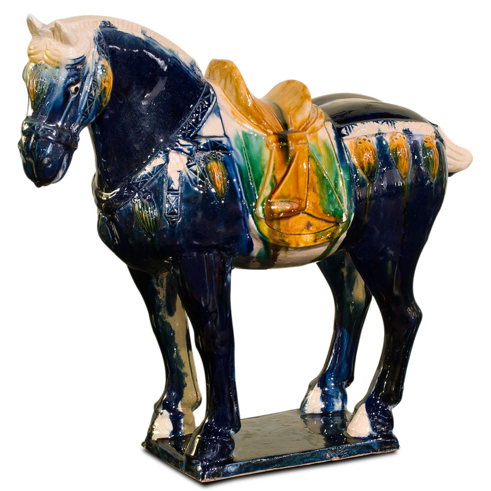 Tang Tri-Color Glazed Ceramic Chinese Horse Statue