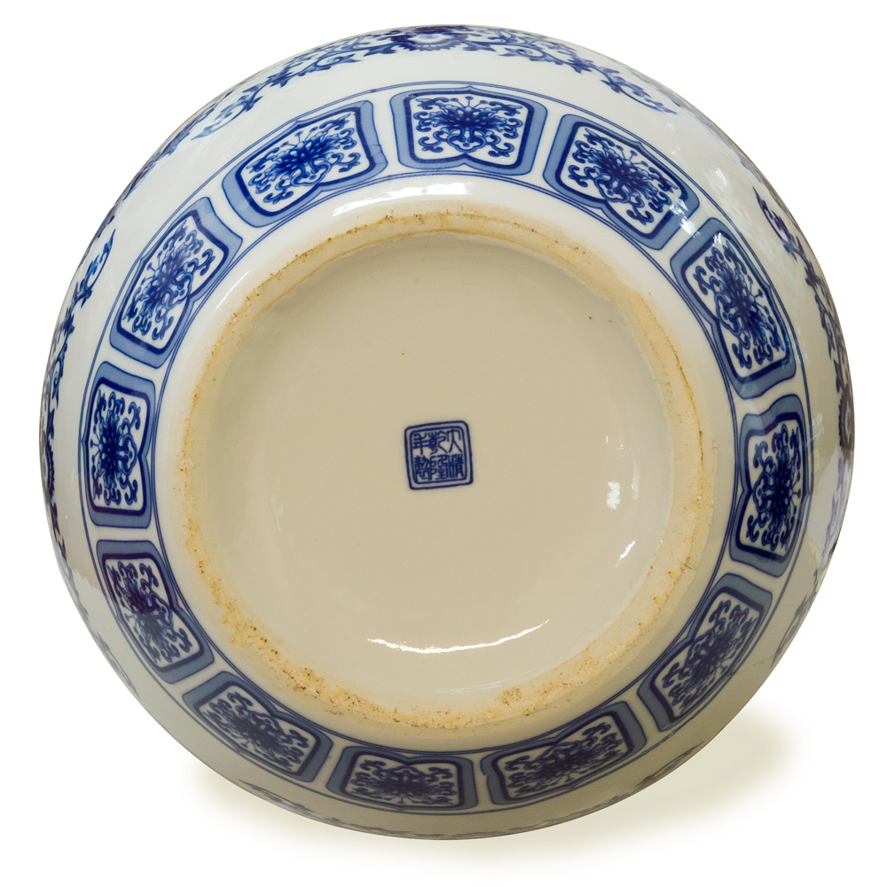 Blue and White Porcelain Chinese Temple Vase
